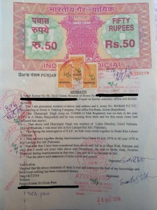Sworn affidavit of Satish Kumar